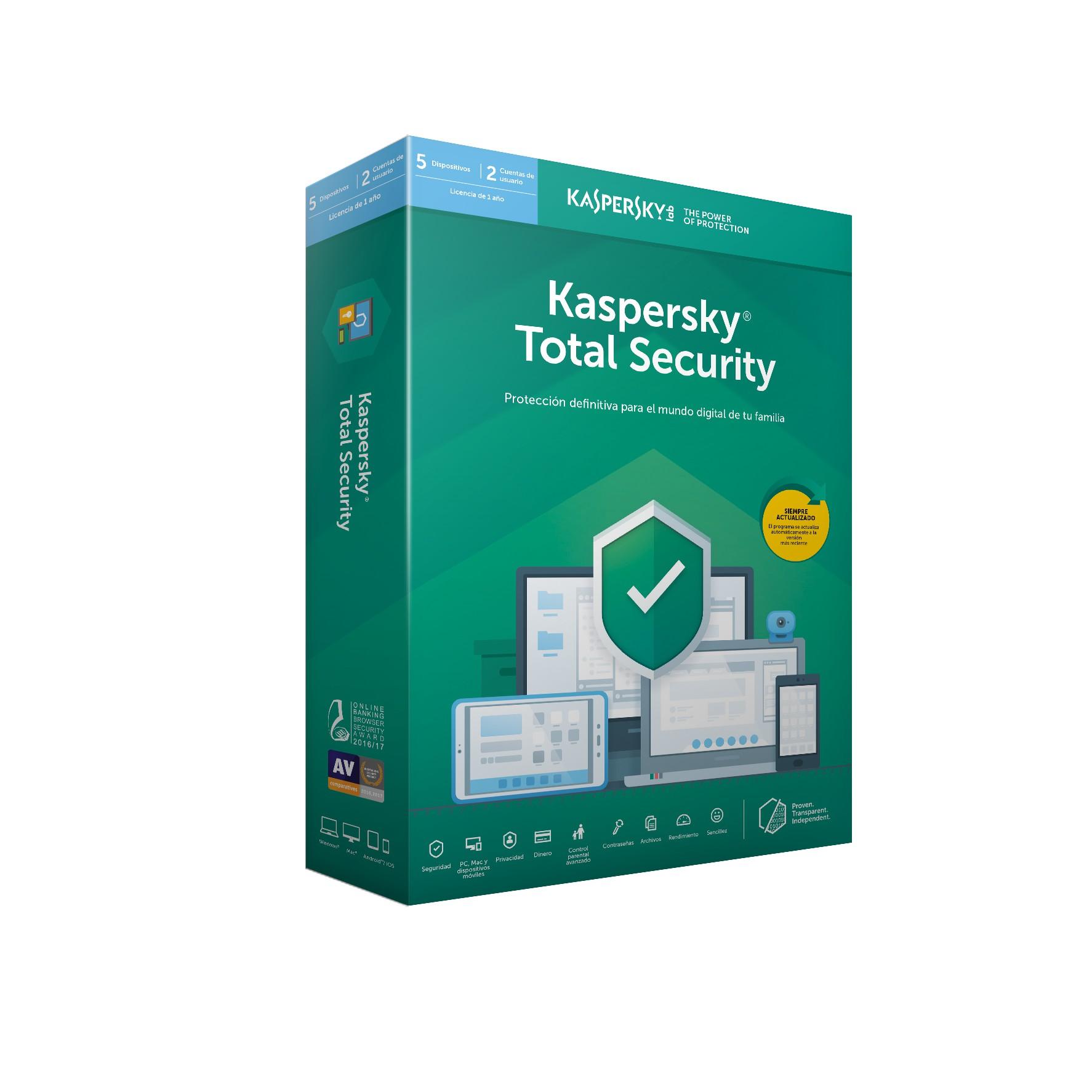 SOFTWARE ANTIVIRUS KASPERSKY 2019 TOTAL SECURITY 5 LICENCIAS EDICION LIMITADA