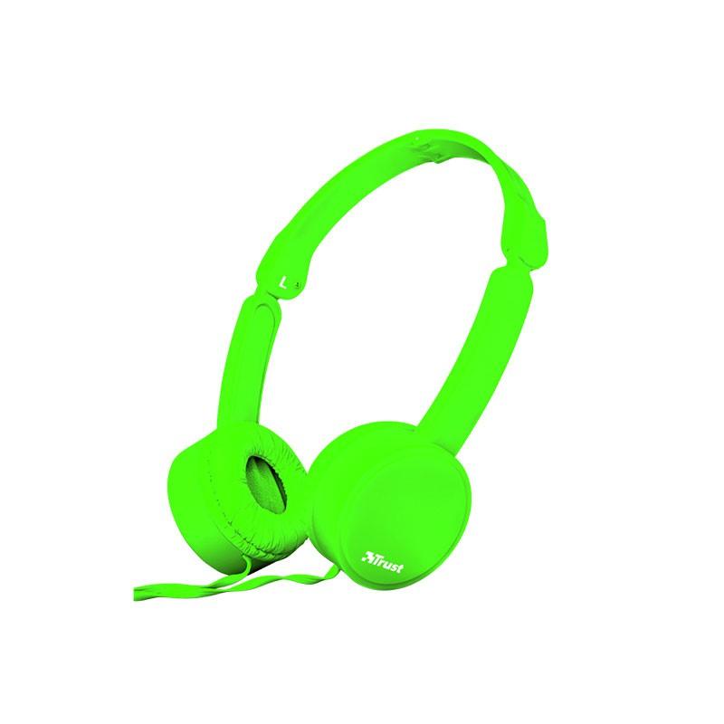 AURICULAR TRUST NANO SUMMER HEADPHONES PLEGABLE GREEN 23101