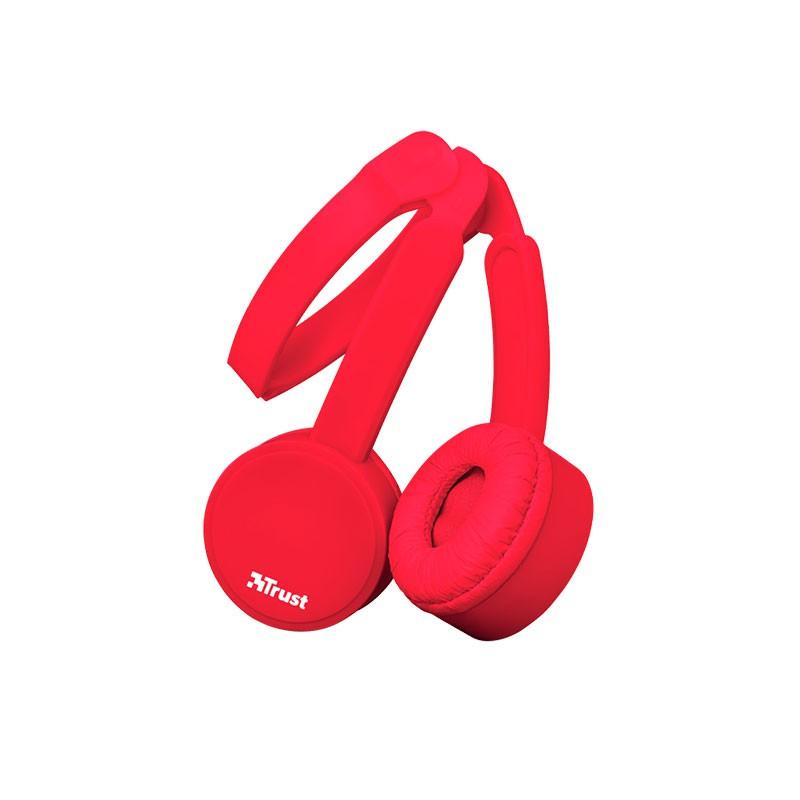 AURICULAR TRUST NANO SUMMER HEADPHONES PLEGABLE RED 23105